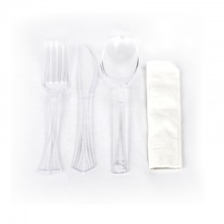 Set de cubiertos deshechable: Tenedor + Cuchillo + Cuchara + Servilleta (1 ud)