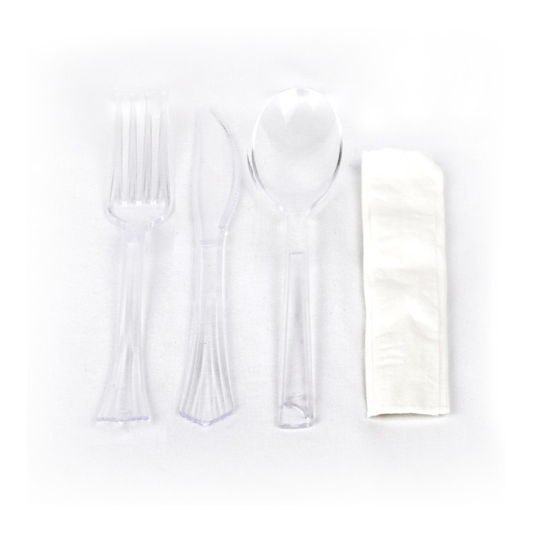 Cutlery set: Fork + Knife + Spoon + Napkin (1 unit)