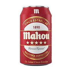 Domestic Beer Mahou 5 Estrellas  33cl cans (pack 24 units)